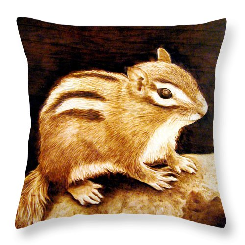 Chipmonk Throw Pillow featuring the pyrography Little Chipper by Jo Schwartz