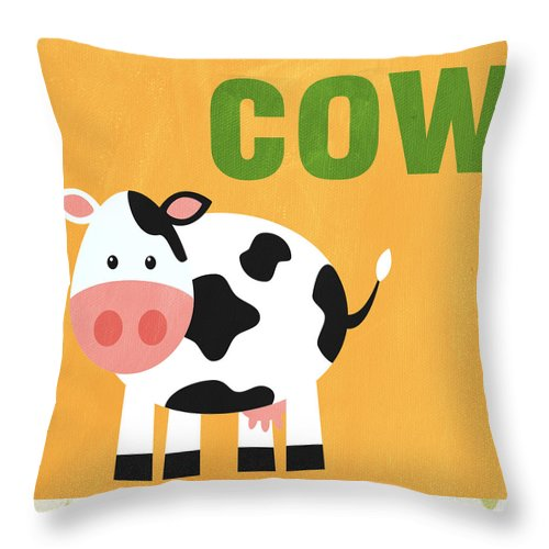 Cow Throw Pillow featuring the painting Little Cow by Linda Woods