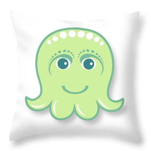 Little Octopus Throw Pillow featuring the digital art Little cute green octopus by Ainnion