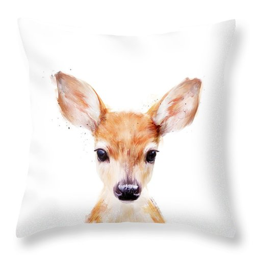 Fawn Throw Pillow featuring the painting Little Deer by Amy Hamilton