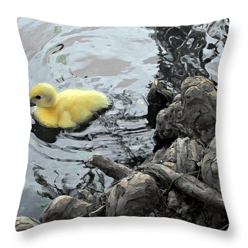 Duck Throw Pillow featuring the photograph Little Ducky 2 by Angelina Vick