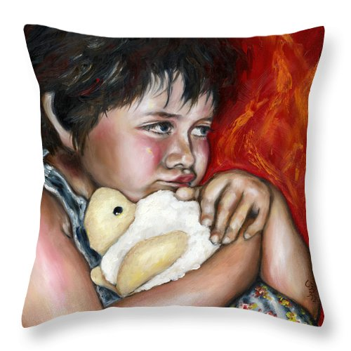 Cute Throw Pillow featuring the painting Little Fighter by Hiroko Sakai
