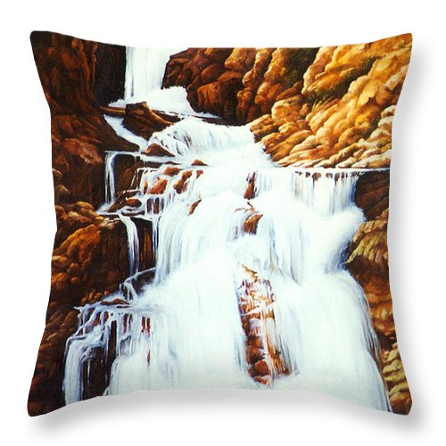 Waterfall Throw Pillow featuring the painting Little Firehole Falls by Teri Rosario