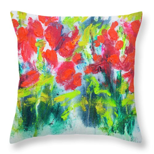 Abstract Throw Pillow featuring the painting Little Garden 01 by Claire Desjardins