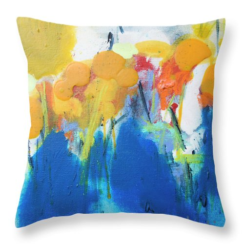 Abstract Throw Pillow featuring the painting Little Garden 02 by Claire Desjardins