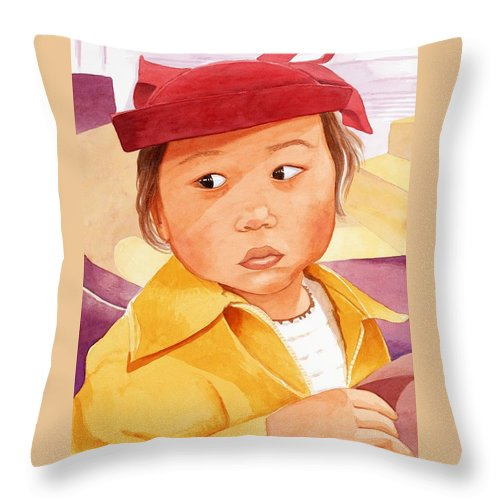 Little Japanese Girl In Red Hat Throw Pillow featuring the painting Little Girl in Red Hat by Judy Swerlick