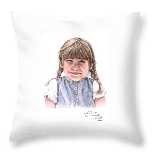 Girl Throw Pillow featuring the drawing Little Girl by Nicole Zeug