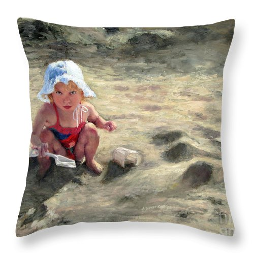 Children Throw Pillow featuring the painting Little Girl Playing By Herself by Chris Neil Smith