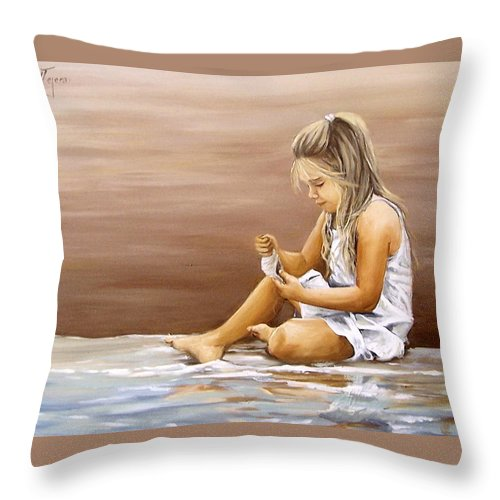 Children Girl Sea Shell Seascape Water Portrait Figurative Throw Pillow featuring the painting Little Girl With Sea Shell by Natalia Tejera