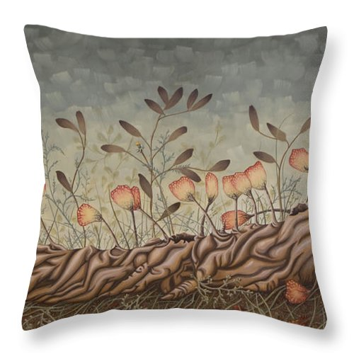 Sex Throw Pillow featuring the painting Little Gods by Judy Henninger