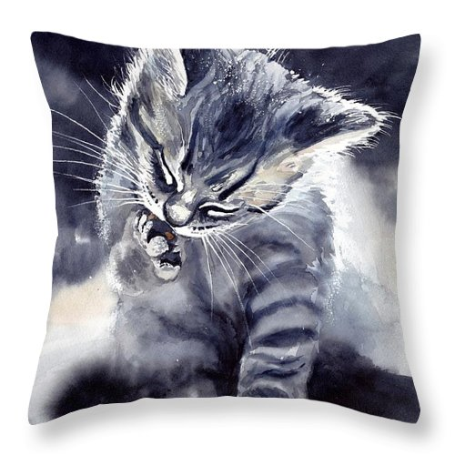 Little Throw Pillow featuring the painting Little Grey Cat by Suzann Sines
