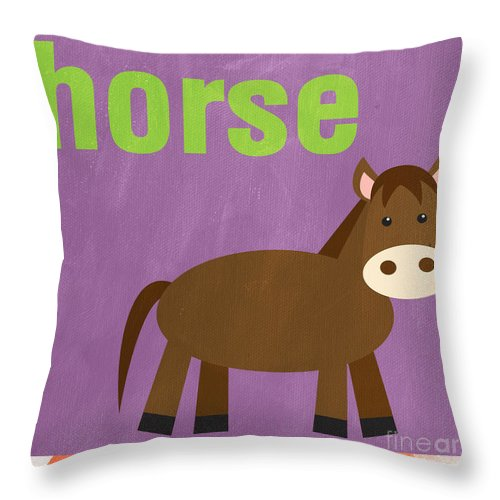 Horse Throw Pillow featuring the painting Little Horse by Linda Woods