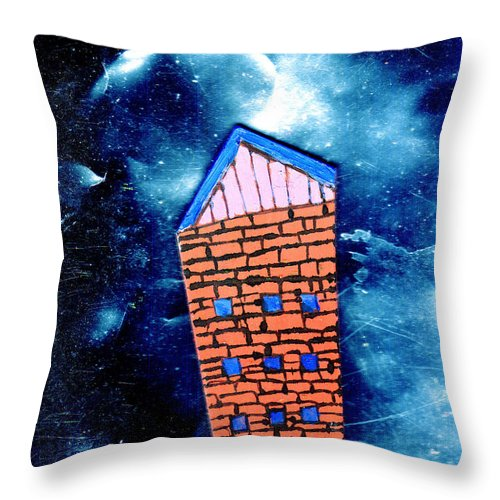 Mixed Media Throw Pillow featuring the painting Little House In The Cosmos by Wayne Potrafka