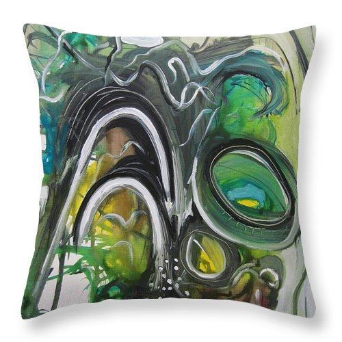 Abstract Paintings Throw Pillow featuring the painting little impression on Alexander trail by Seon-Jeong Kim