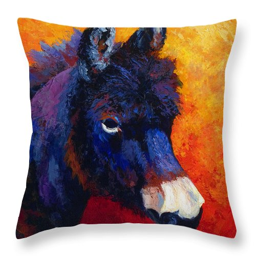 Burro Throw Pillow featuring the painting Little Jack - Burro by Marion Rose