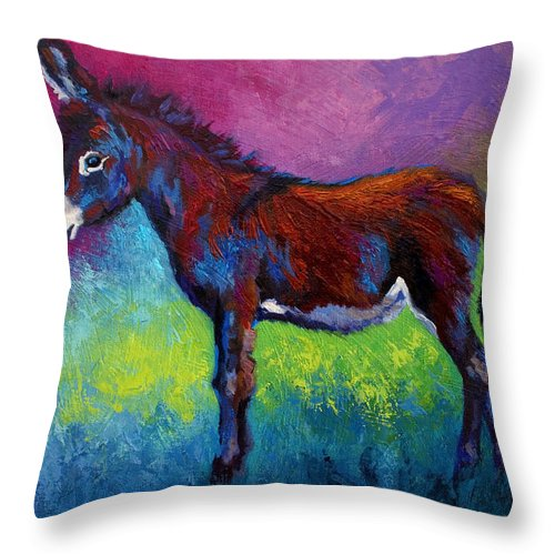 Burro Throw Pillow featuring the painting Little Jenny by Marion Rose