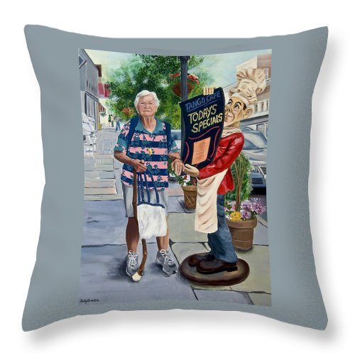 Elderly Woman Throw Pillow featuring the painting Little Lady From Saugerties by Judy Swerlick
