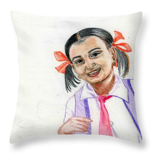 Child Throw Pillow featuring the drawing Little Manju by Asha Sudhaker Shenoy