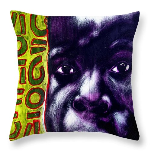 Throw Pillow featuring the mixed media Little Midge by Chester Elmore