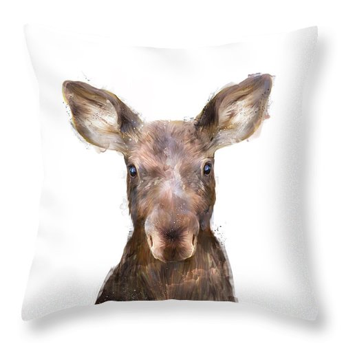 Moose Throw Pillow featuring the painting Little Moose by Amy Hamilton
