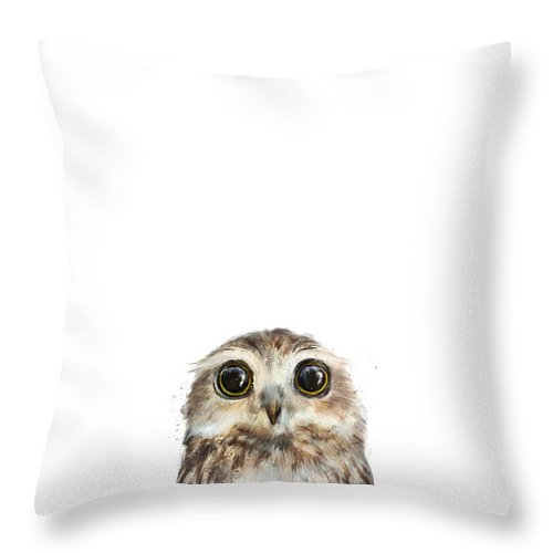 Owl Throw Pillow featuring the painting Little Owl by Amy Hamilton