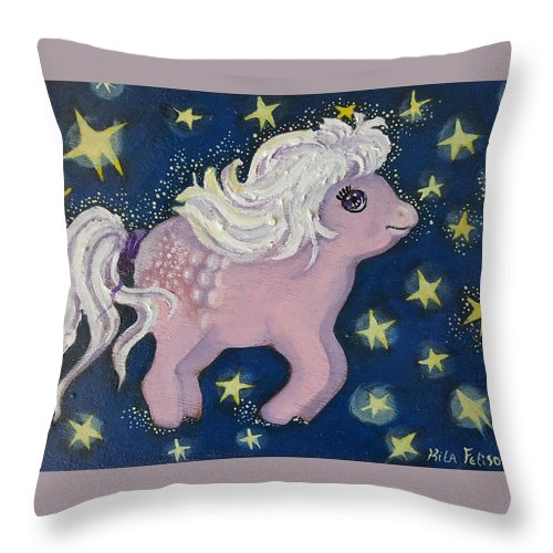 Wood Throw Pillow featuring the painting Little Pink Horse by Rita Fetisov