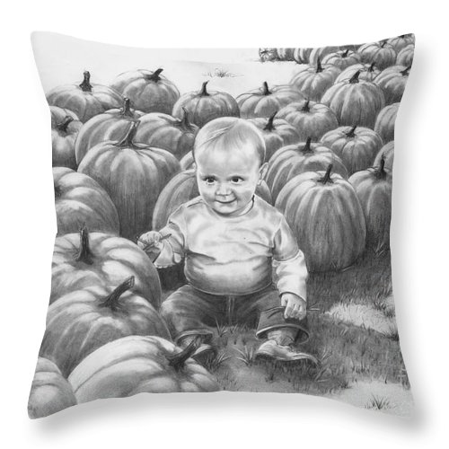 Charity Throw Pillow featuring the drawing Little Pumpkin by Murphy Elliott