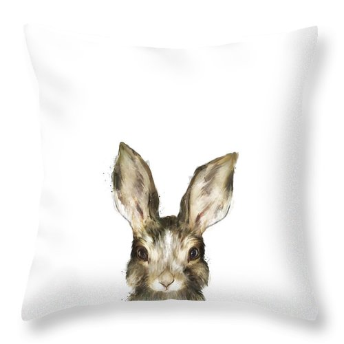 Rabbit Throw Pillow featuring the painting Little Rabbit by Amy Hamilton