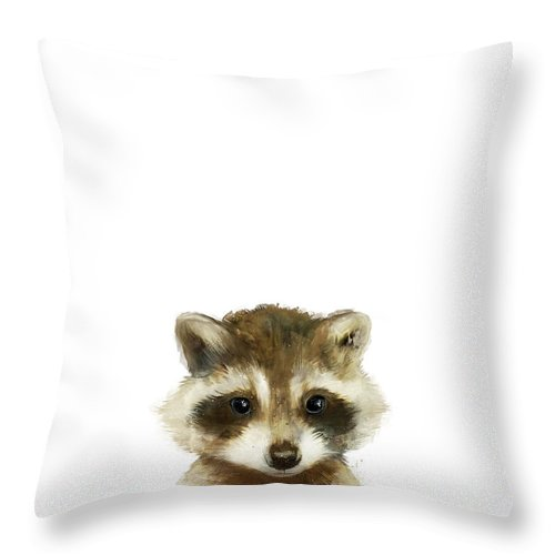 Raccoon Throw Pillow featuring the painting Little Raccoon by Amy Hamilton