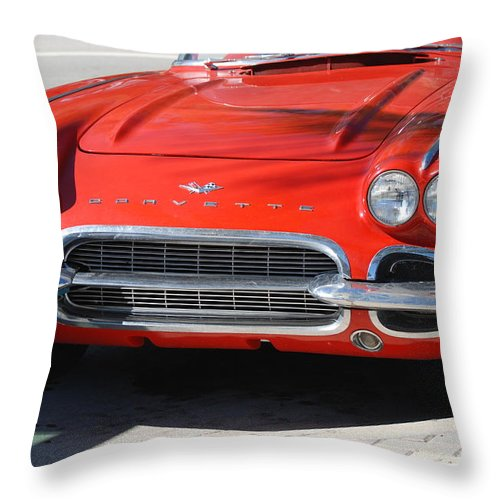 Corvette Throw Pillow featuring the photograph Little Red Corvette by Rob Hans