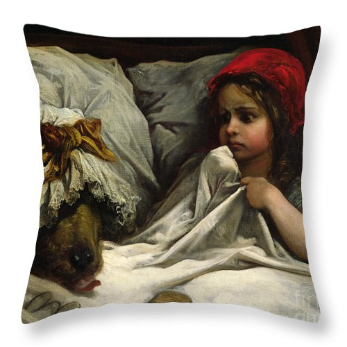 Wolf; Disguise; Child; Girl; Fairy Tale; Story; Glasses; Bed; Nightcap; Fear Throw Pillow featuring the painting Little Red Riding Hood by Gustave Dore