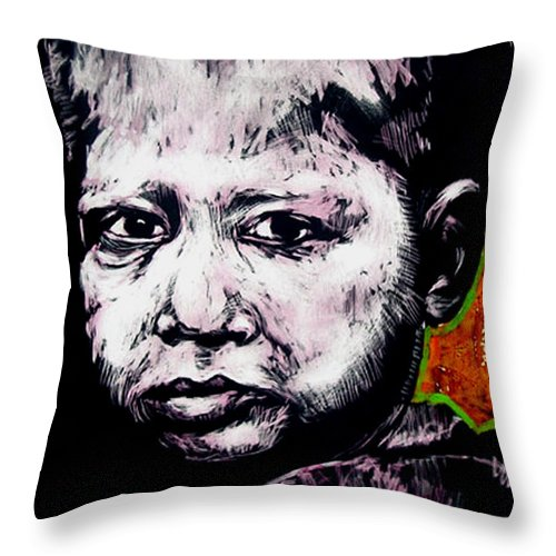 Throw Pillow featuring the mixed media Little Rosita by Chester Elmore