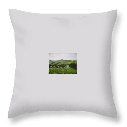 Landscape Throw Pillow featuring the painting Little Schoolhouse on the Hill by Toni Berry