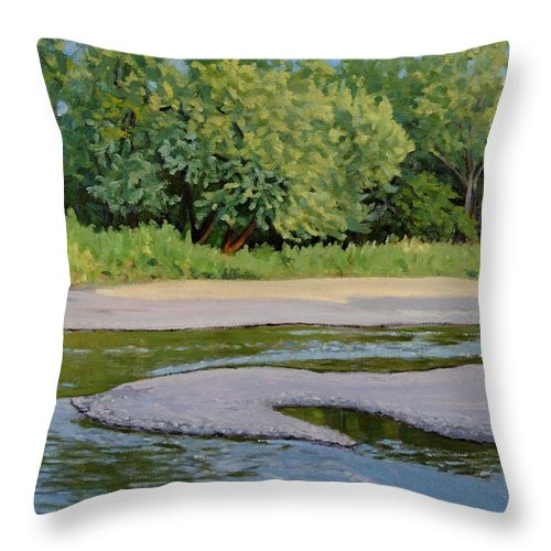 Summer Landscape Throw Pillow featuring the painting Little Sioux Sandbar by Bruce Morrison
