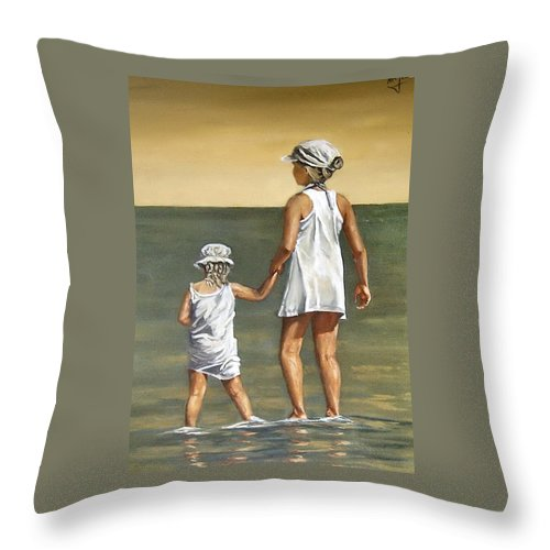 Little Girl Reflection Girls Kids Figurative Water Sea Seascape Children Portrait Throw Pillow featuring the painting Little Sisters by Natalia Tejera