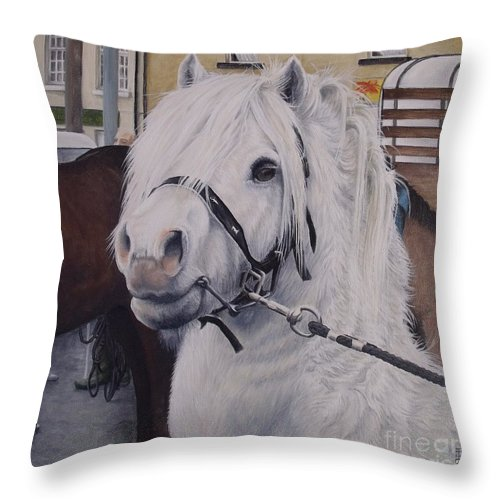 Portrait Throw Pillow featuring the painting Little Stallion-glin Fair by Pauline Sharp