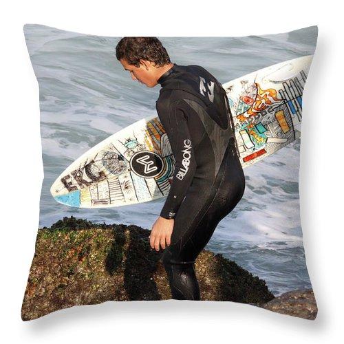 Surfer Throw Pillow featuring the photograph Little Surfer Dude by Deborah Benoit