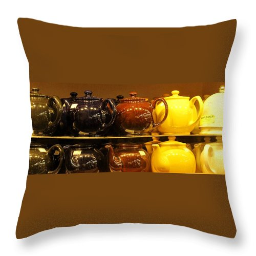 Teapots Throw Pillow featuring the photograph Little Teapots by Ian MacDonald