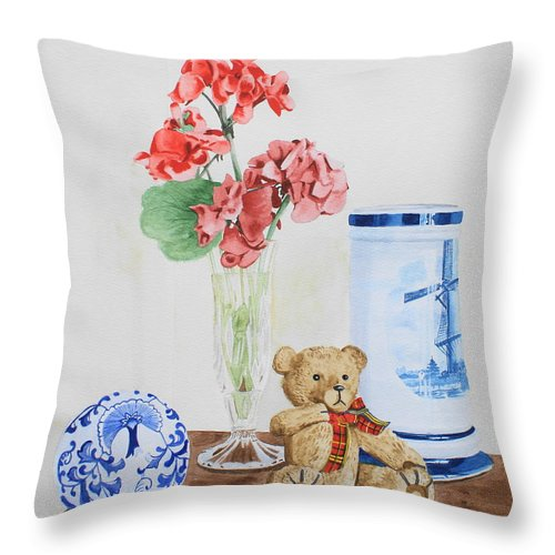 Still Life Throw Pillow featuring the painting Little Ted by Frank Hamilton