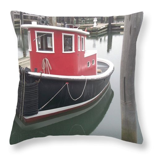 Tugboat Throw Pillow featuring the painting Little Tug by Eric Schiabor