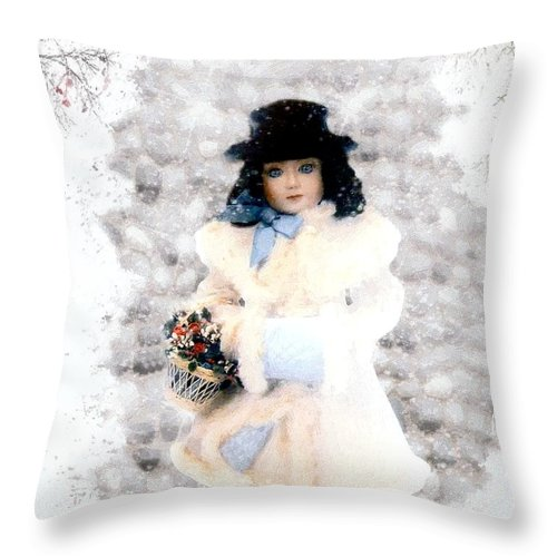Vintage Throw Pillow featuring the painting Little Visitor by RC DeWinter