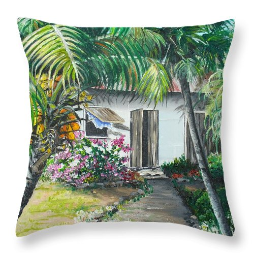 Caribbean Painting Typical Country House In Trinidad And The Islands With Coconut Tree Tropical Painting Throw Pillow featuring the painting Little West Indian House 2...sold by Karin Dawn Kelshall- Best