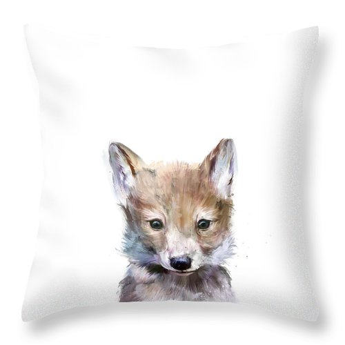Wolf Throw Pillow featuring the painting Little Wolf by Amy Hamilton