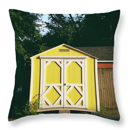 Barn Throw Pillow featuring the photograph Little Yellow Barn- By Linda Woods by Linda Woods