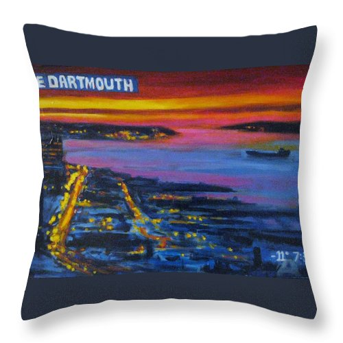 Night Scenes Throw Pillow featuring the painting Live Eye Over Dartmouth Ns by John Malone