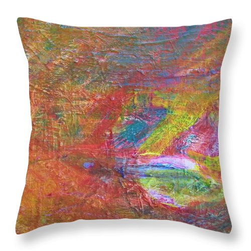 Abstract Throw Pillow featuring the painting Live Fish In The Ocean by Judith Redman