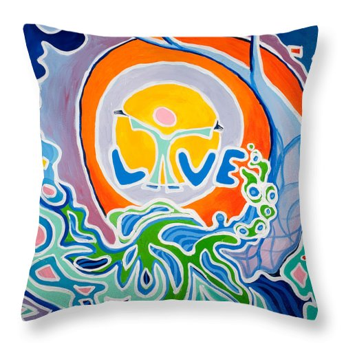 Abstract Throw Pillow featuring the painting Live Love by Jaison Cianelli