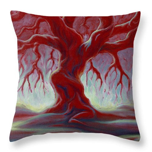 Red Oak Throw Pillow featuring the painting Live Oak by Jennifer McDuffie