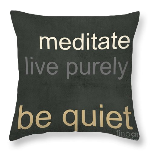 Buddha Throw Pillow featuring the mixed media Live Purely by Linda Woods