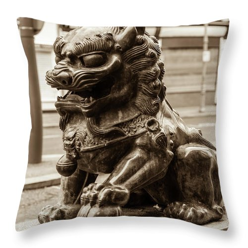 6x4 Throw Pillow featuring the photograph Liverpool Chinatown - Chinese Lion A by Jacek Wojnarowski